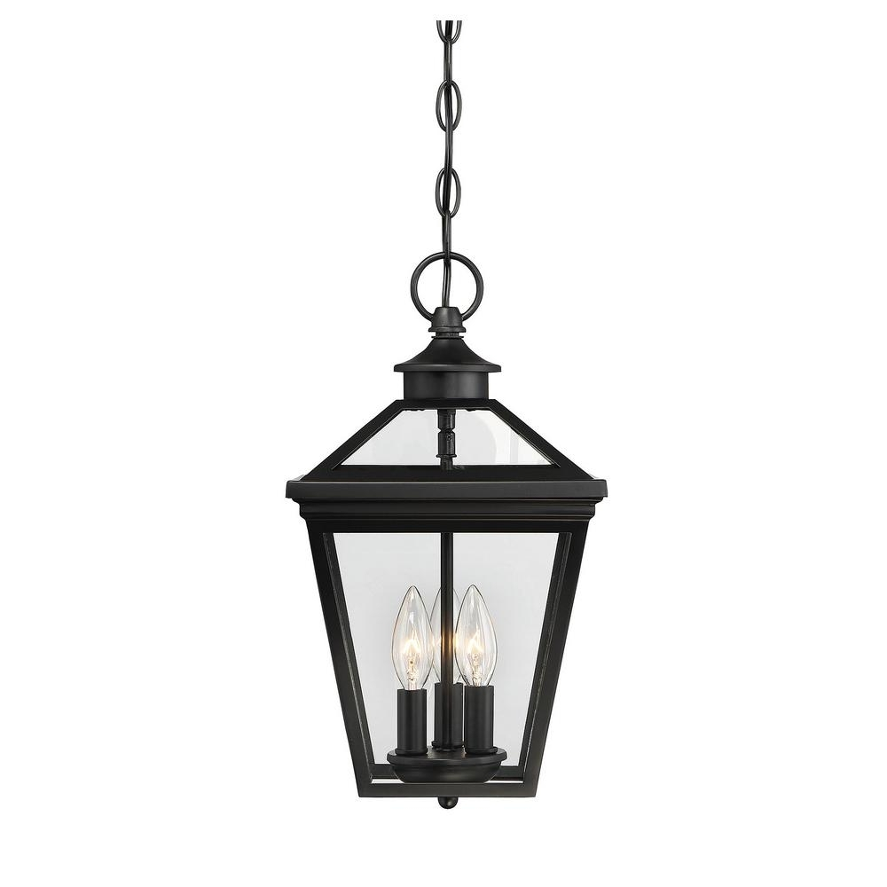 Famous Outdoor Hanging Light Fixtures In Black Throughout Filament Design 3 Light Black Outdoor Hanging Lantern Ect Sh (View 12 of 20)