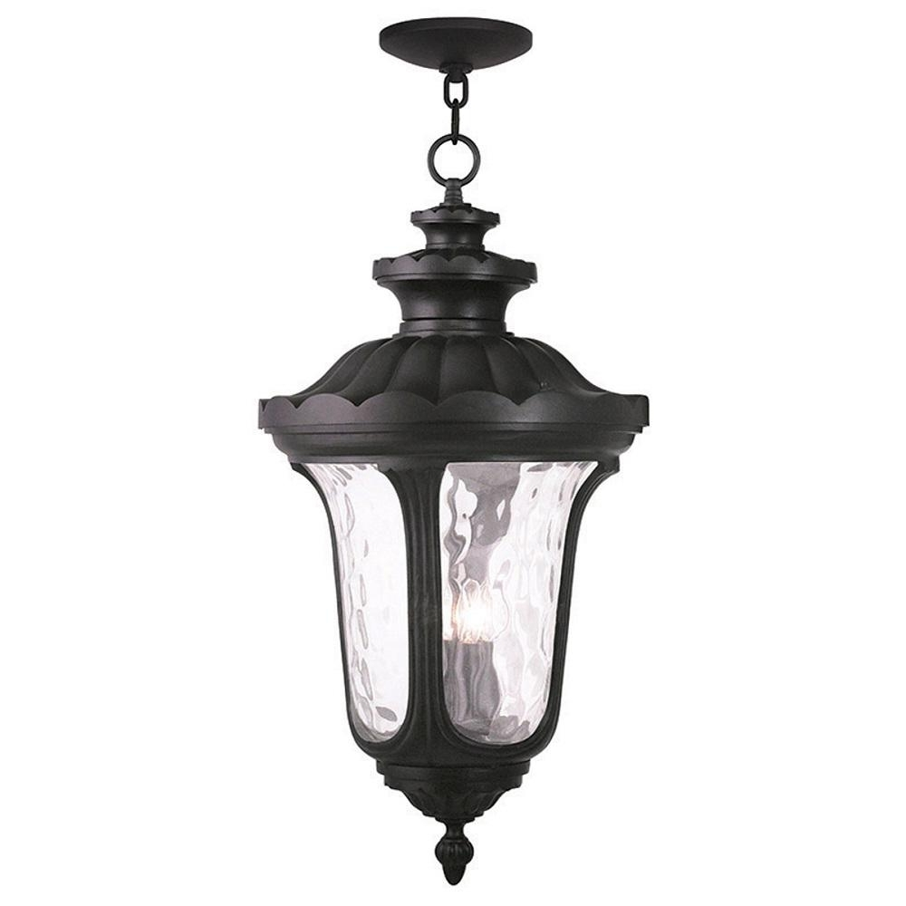 Famous Outdoor Hanging Light In Black With Livex Lighting Frontenac 4 Light Black Outdoor Hanging Lantern (View 5 of 20)