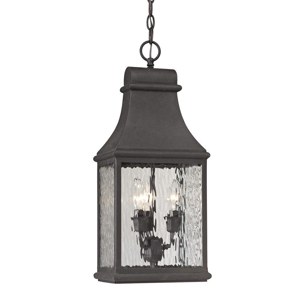 Famous Titan Lighting Worcester Forge Collection 3 Light Charcoal Outdoor In Outdoor Hanging Lights (View 15 of 20)