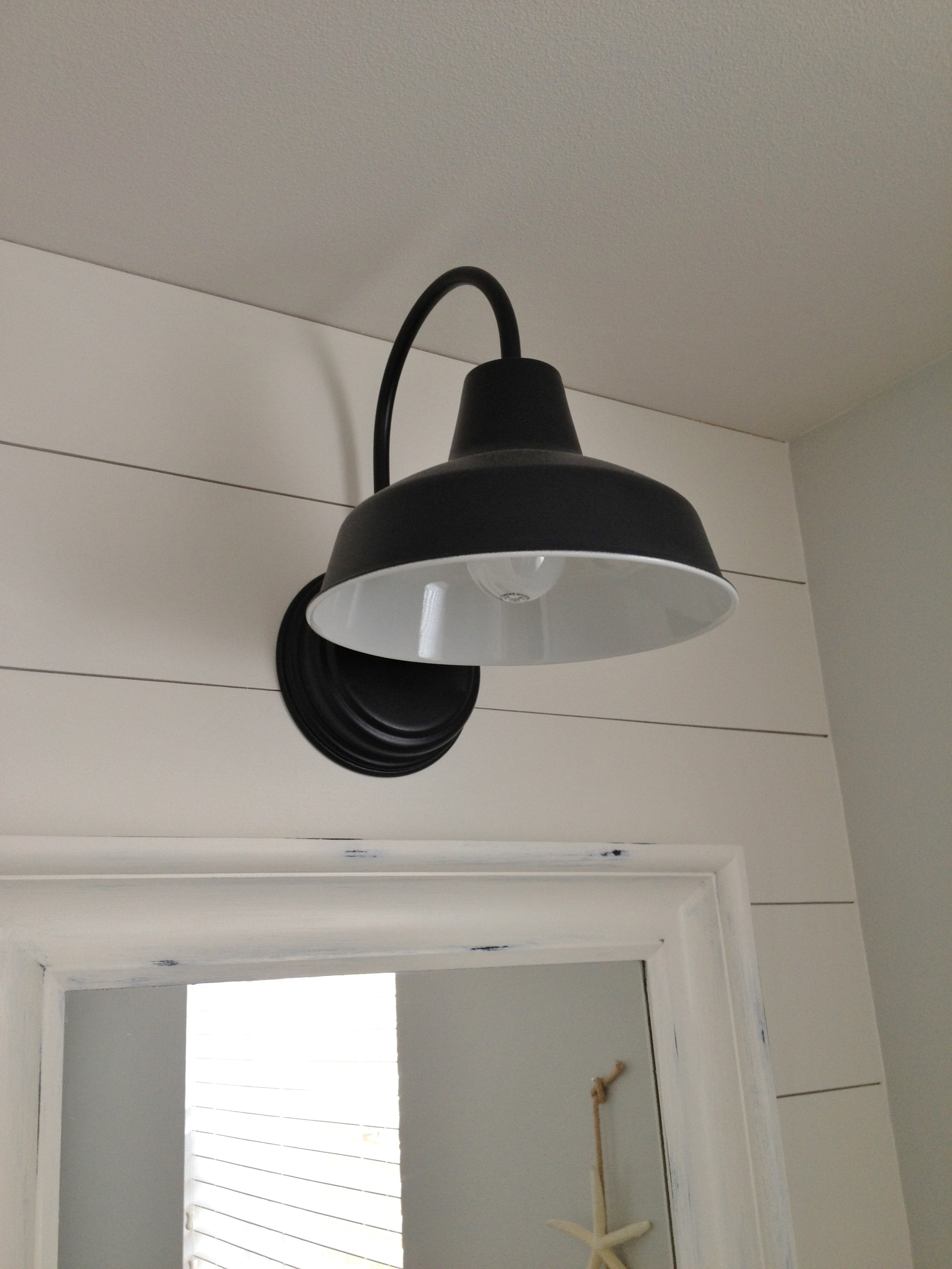 Farmhouse Outdoor Wall Lighting Within Best And Newest Barn Wall Sconce Lends Farmhouse Look To Powder Room Remake (View 11 of 20)
