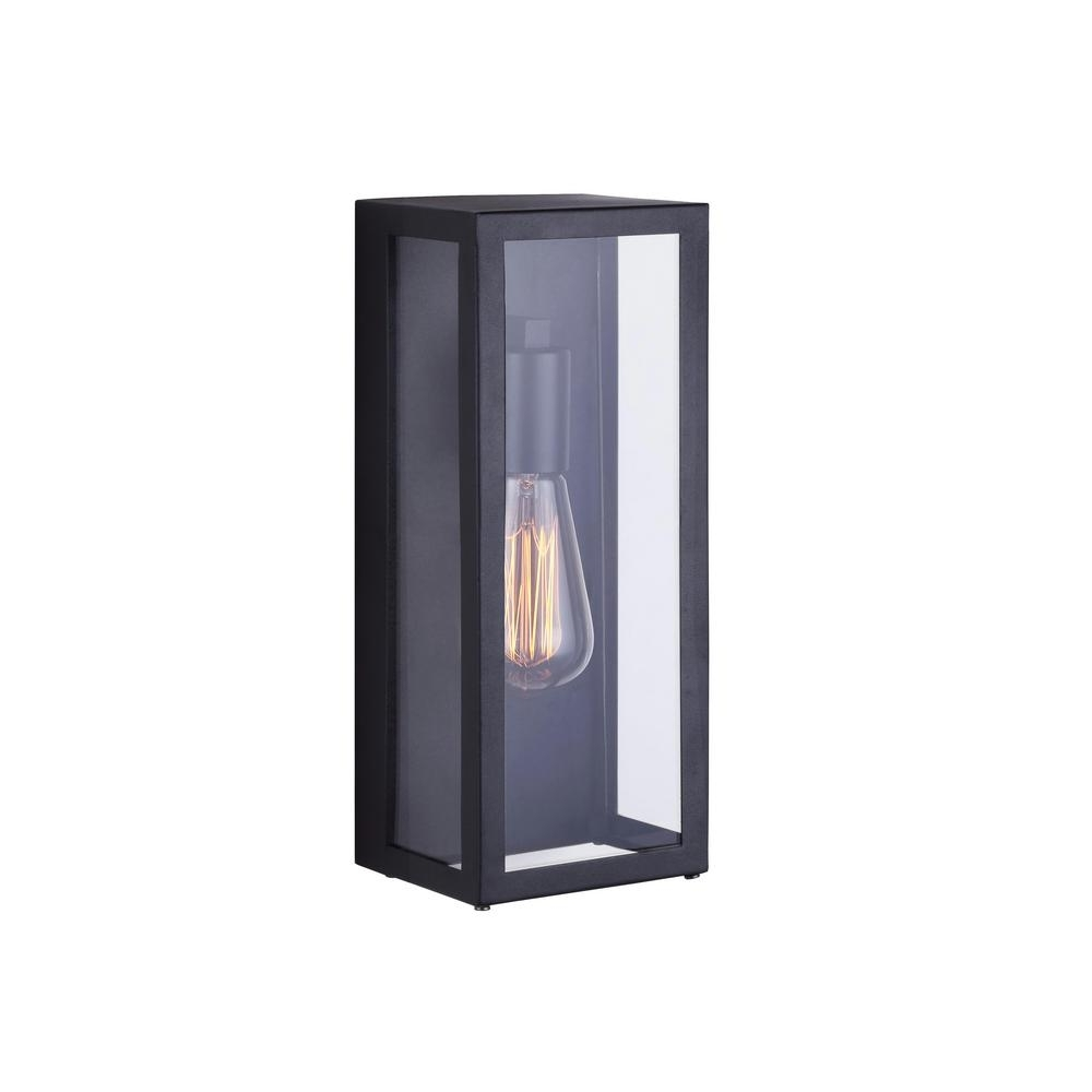 Fashionable Canarm Galia 1 Light Black Outdoor Wall Light With Clear Glass Intended For Black Outdoor Wall Lighting (View 2 of 20)
