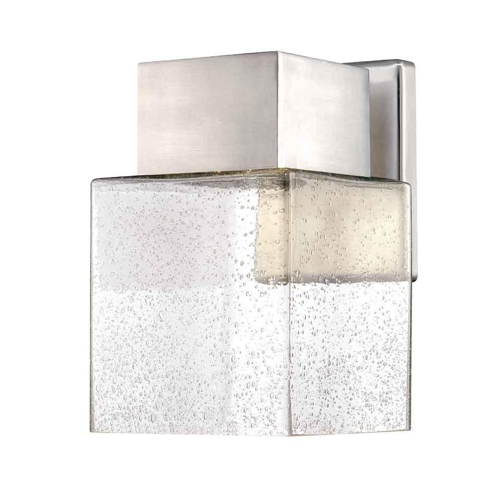 Fashionable Contemporary Garden Lights Fixture At Home Depot Regarding Home Decorators Collection Essex Brushed Nickel Outdoor Led Powered (View 14 of 20)