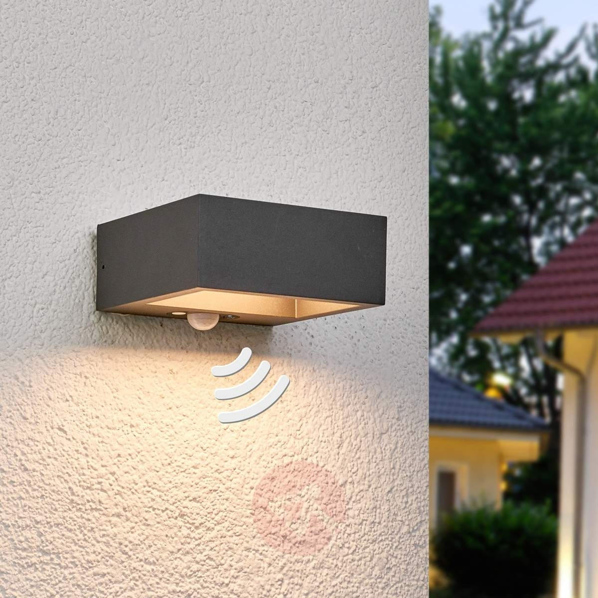 Fashionable Furniture : Solar Powered Led Outdoor Wall Light Mahra Sensor Black Within Pir Solar Outdoor Wall Lights (View 4 of 20)