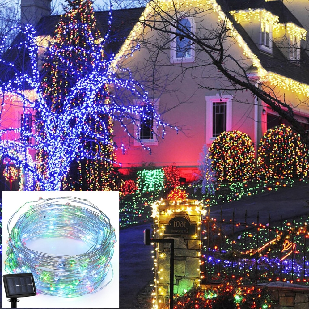 Fashionable Garden And Outdoor String Lights Regarding Yg 22m 200led Solar Powered String Light Christmas Fairy Light Xmas (View 5 of 20)