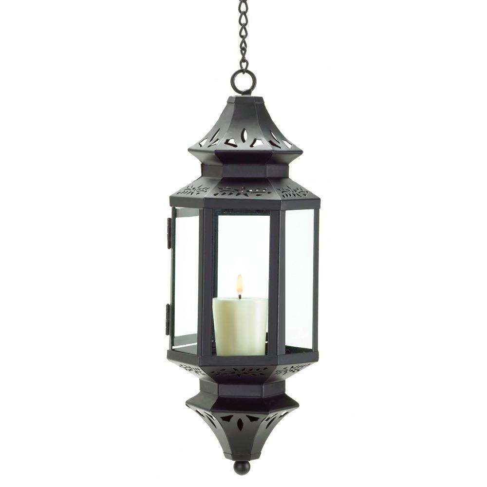 Fashionable Hanging Lanterns, Moroccan Outdoor Candle Glass Metal Lantern Within Outdoor Hanging Metal Lanterns (View 2 of 20)