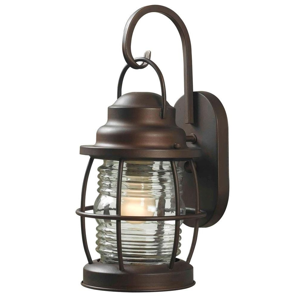 Fashionable Home Decorators Collection Harbor 1 Light Copper Bronze Outdoor Pertaining To Outdoor Porch Light Fixtures At Home Depot (View 1 of 20)