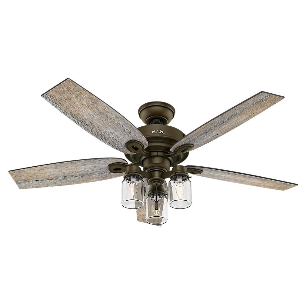 Fashionable Hunter Outdoor Ceiling Fans With Lights And Remote Intended For Hunter Crown Canyon 52 In (View 1 of 20)
