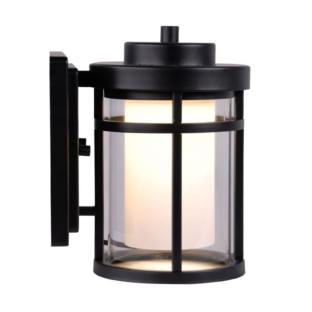 Fashionable Led Outdoor Wall Lighting At Home Depot Throughout Home Decorators Collection Black Outdoor Led Small Wall Light (View 6 of 20)
