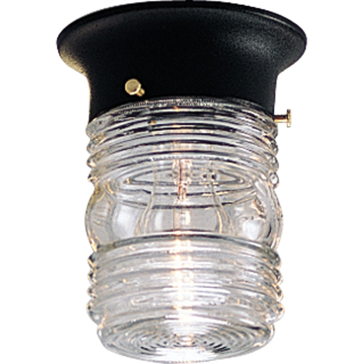 Fashionable Outdoor Ceiling Lighting Fixtures In Outdoor Ceiling Flush Mount Light Fixture With Clear Marine Glass (View 11 of 20)