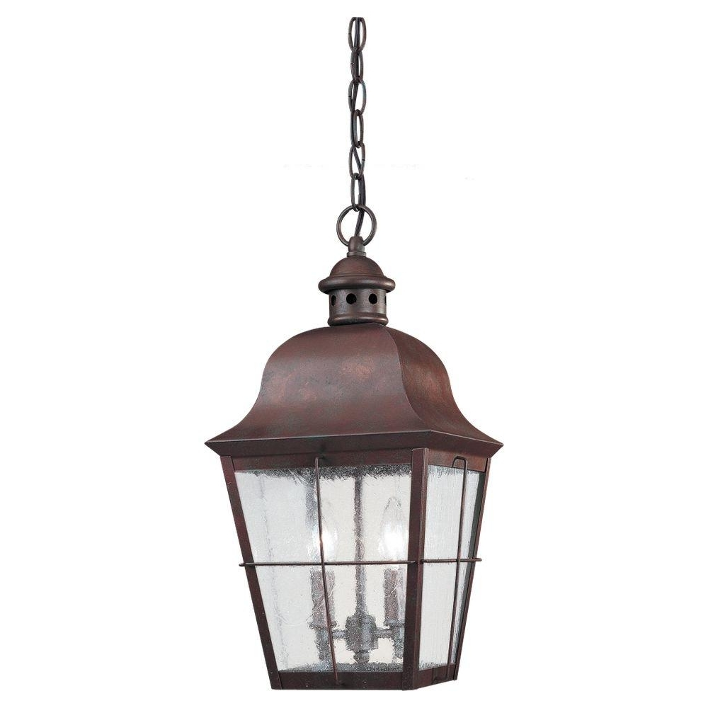 Fashionable Outdoor Hanging Lighting Fixtures At Home Depot Throughout Fireplace : Sea Gull Lighting Chatham Light Weathered Copper Outdoor (View 11 of 20)