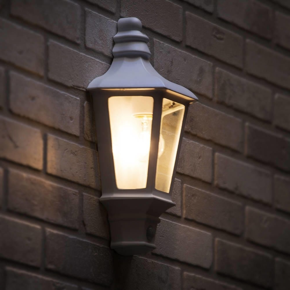 Fashionable Outdoor Wall Lamps Outdoor Pir Wall Lights Half Lantern White Intended For Half Lantern Outside Wall Lights (View 2 of 20)