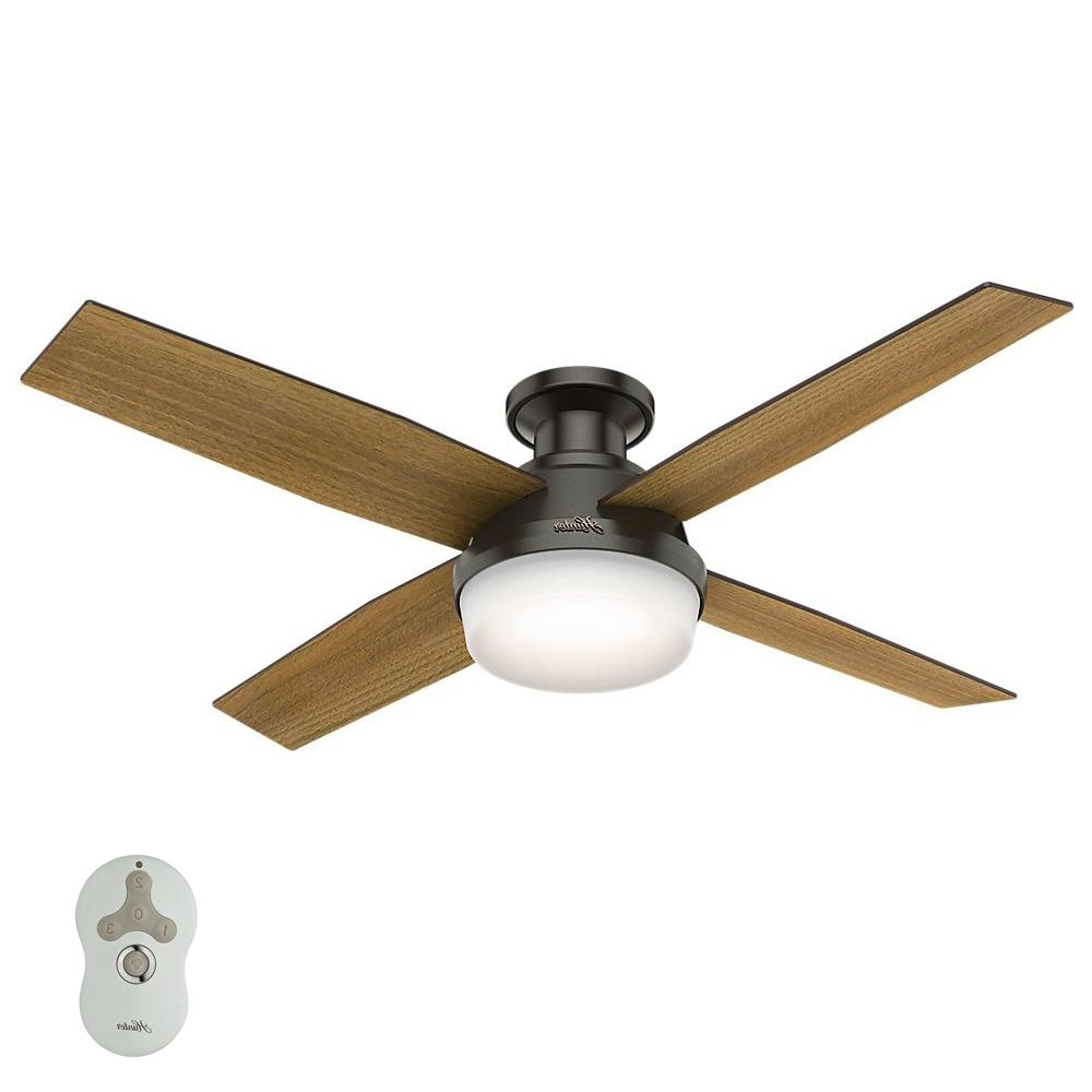 Favorite Flush Mount – Ceiling Fans – Lighting – The Home Depot Pertaining To Outdoor Ceiling Fans With Flush Mount Lights (View 4 of 20)