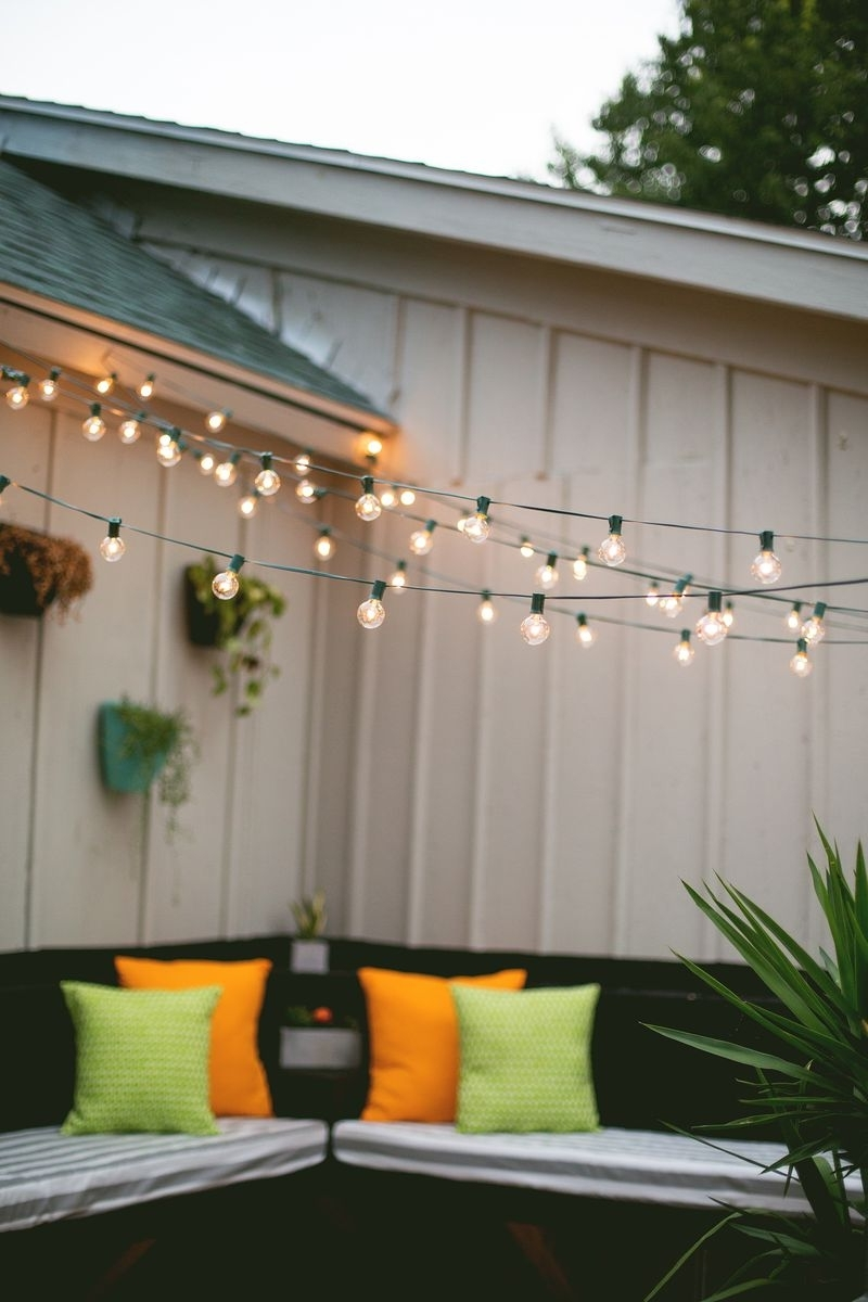 Favorite Hanging Outdoor Lights With Wire Intended For Diy : Amazing How Hang Outdoor Patio String Lights For Wire (View 13 of 20)