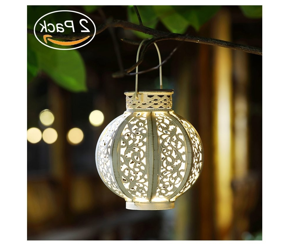 Favorite Maggift 2 Pack Hanging Solar Lights Outdoor Retro Hanging Solar Regarding Outdoor Hanging Solar Lanterns (View 4 of 20)