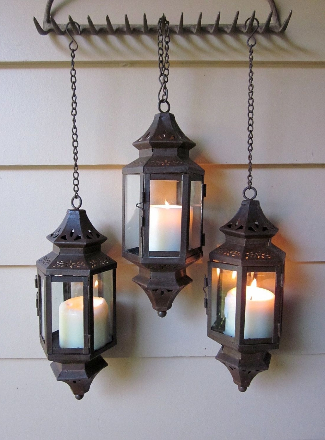 Favorite Outdoor Hanging Lanterns For Wedding Pertaining To Appealing Rust Patina Hanging Lantern For Wedding Pathway Patio Wall (View 8 of 20)