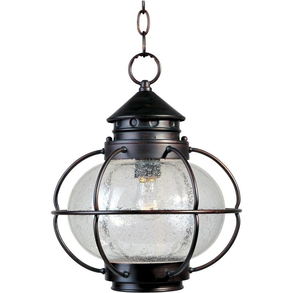 Favorite Outdoor Hanging Oil Lanterns Within Maxim Lighting Portsmouth Oil Rubbed Bronze Outdoor Hanging Lantern (View 5 of 20)