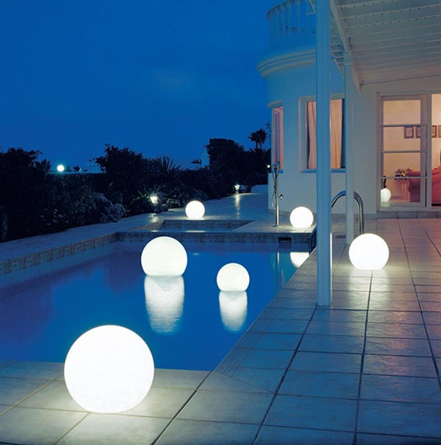 Favorite Outdoor Hanging Pool Lights In Decorations : Dramatic Modern House With Small Pool Also Ball (View 2 of 20)