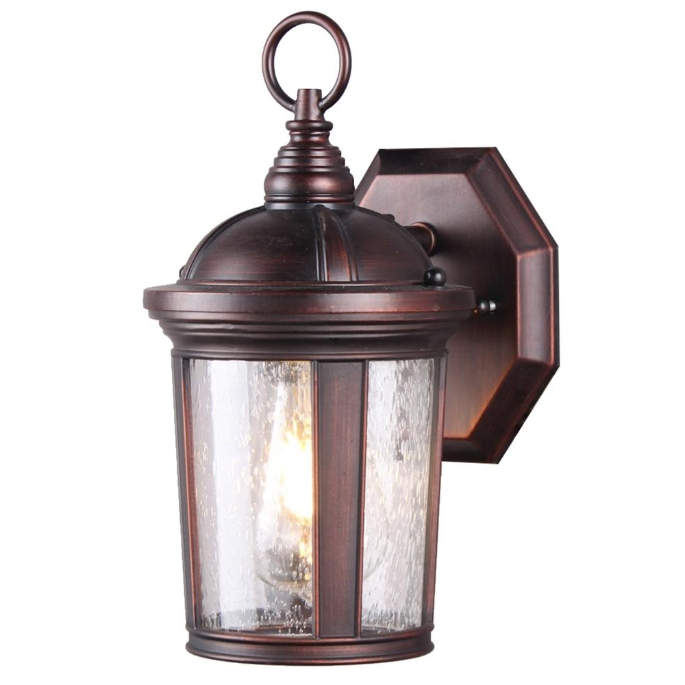 Favorite Outdoor Wall Lighting With Seeded Glass Throughout Dsi 1 Light Bronze Seeded Glass Outdoor Wall Mount Sconce With Led (View 6 of 20)