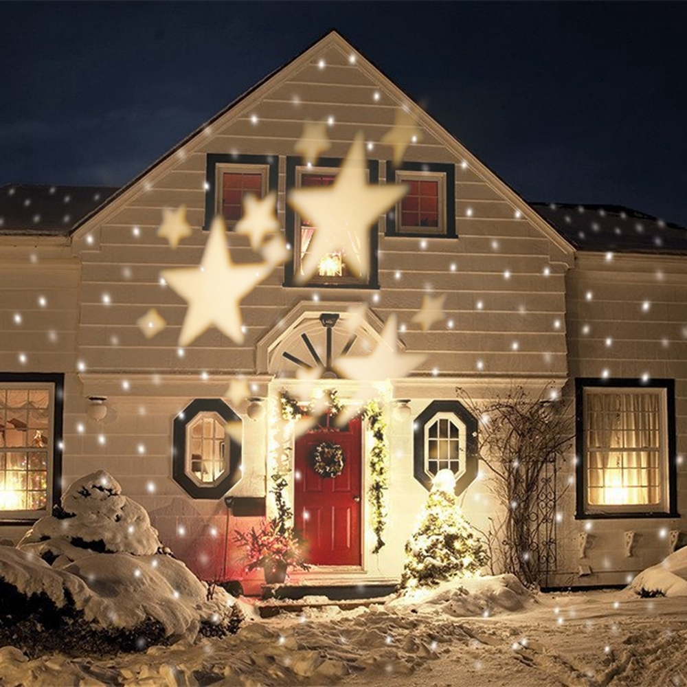Favorite Outdoor Wall Xmas Lights In Outdoor Waterproof Christmas Lights Auto Moving Warm White Star (View 11 of 20)