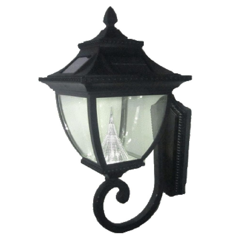 Favorite Solar Outdoor Wall Light Fixtures For Gama Sonic Pagoda Solar Black Outdoor Wall Lantern Gs 104W – The (View 3 of 20)