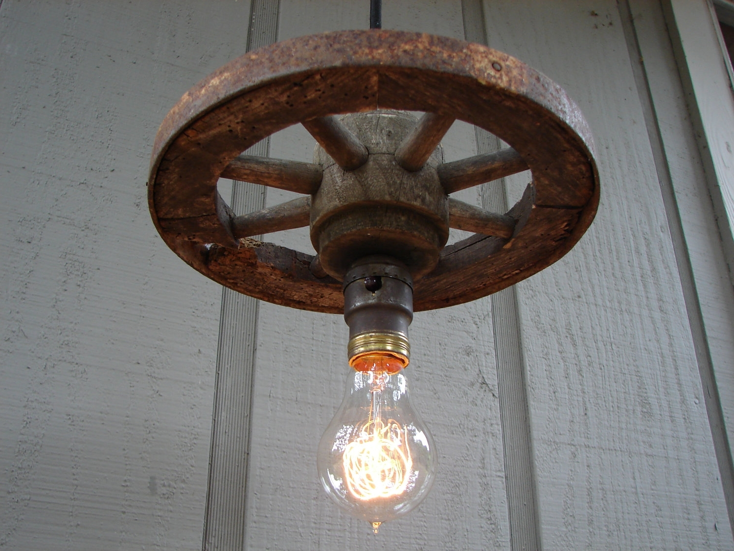 Favorite Vintage And Rustic Outdoor Lighting Throughout Farmhouse Rustic Pendant Light Vintage Barn Wagon Wheel Pendant Lamp (View 7 of 20)