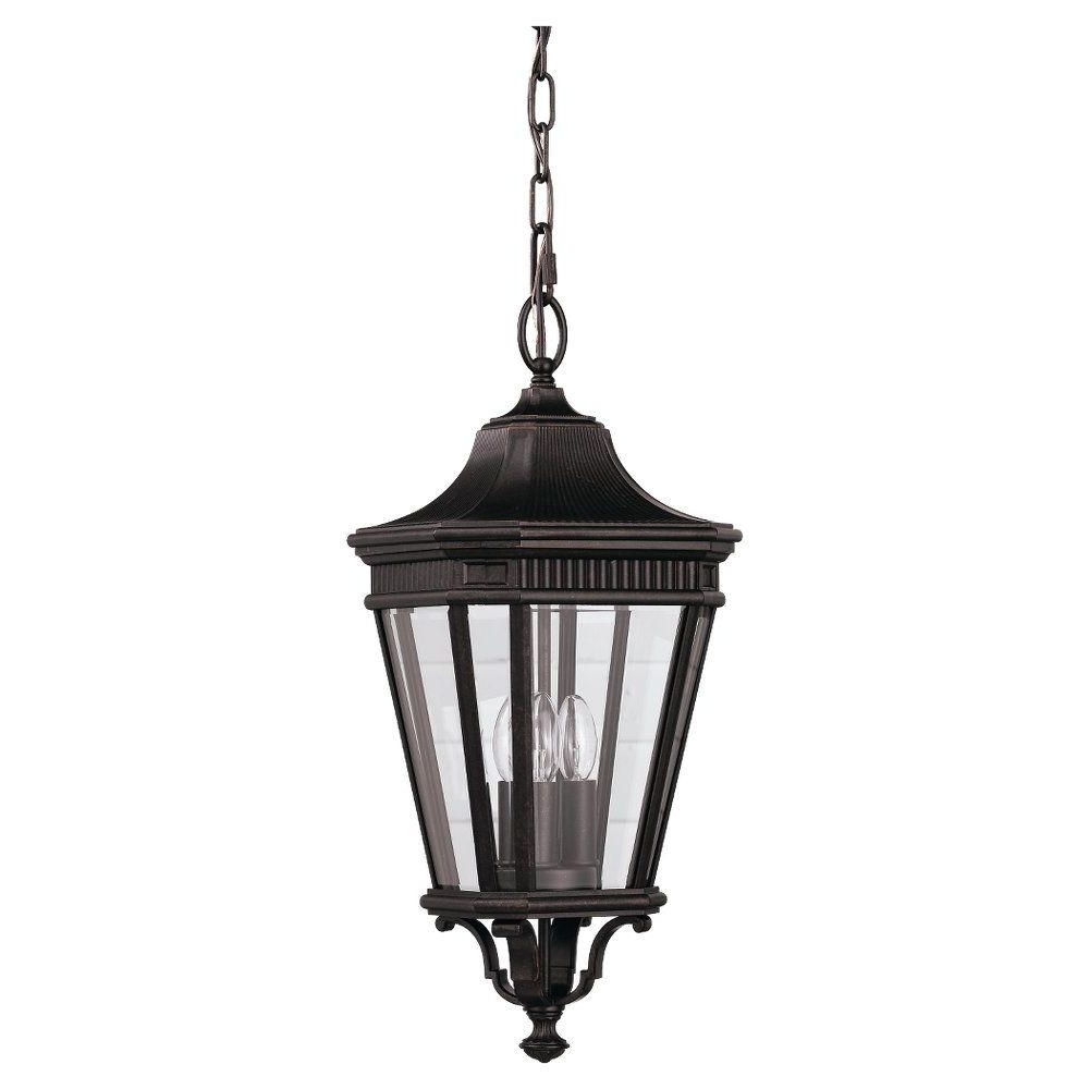 Feiss Cotswold Lane 3 Light Grecian Bronze Outdoor Hanging Pendant For Preferred Outdoor Entrance Ceiling Lights (View 8 of 20)