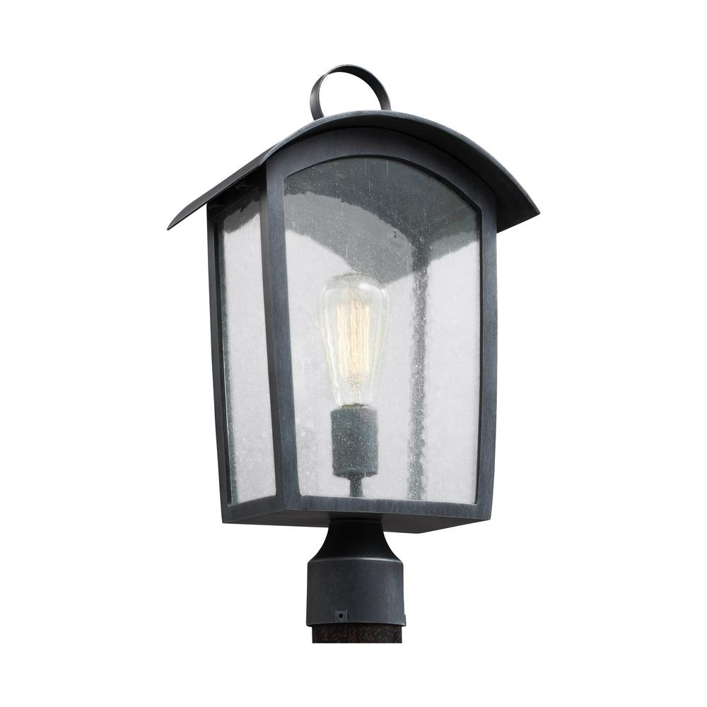 Feiss Hodges Collection 1 Light Ash Black Outdoor Post Light Pertaining To Current Outdoor Hanging Post Lights (View 7 of 20)