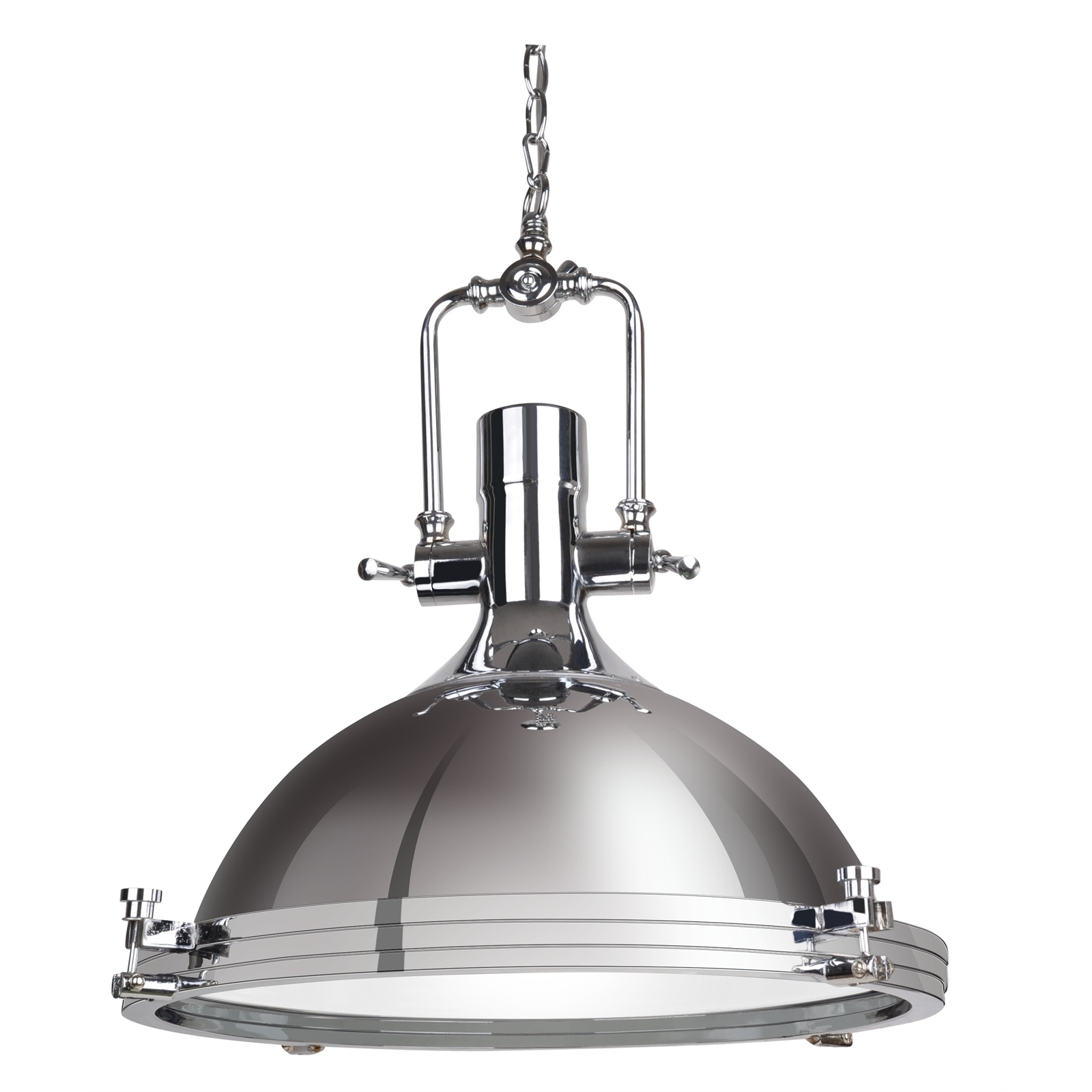 Find Cafe Lighting 40Cm 240V Turner Pendant Light – Chrome At Regarding Most Recently Released Outdoor Ceiling Lights At Bunnings (Gallery 2 of 20)
