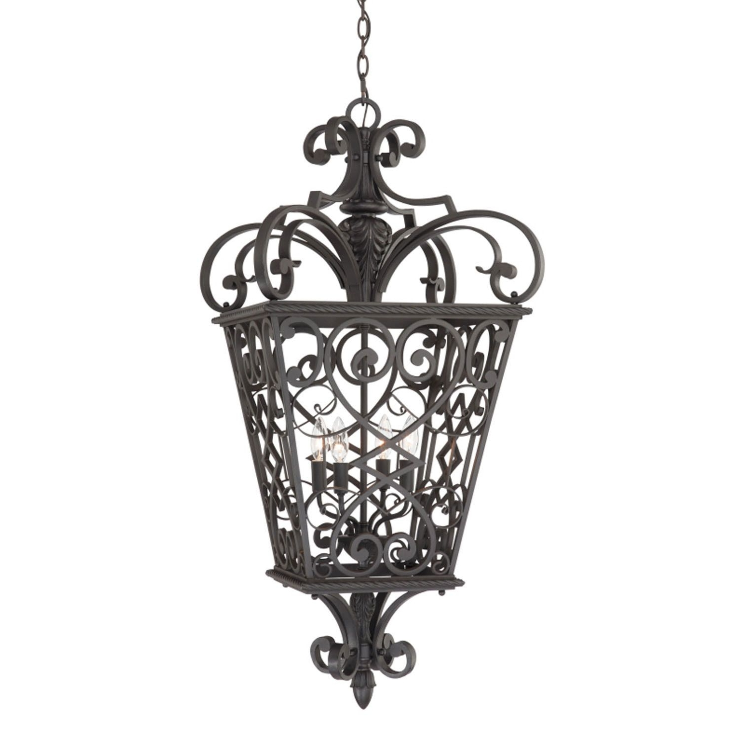 Four Light Outdoor Hanging, Front Porch, Cage Pendant, Traditional Throughout Most Current Traditional Outdoor Hanging Lights (View 10 of 20)