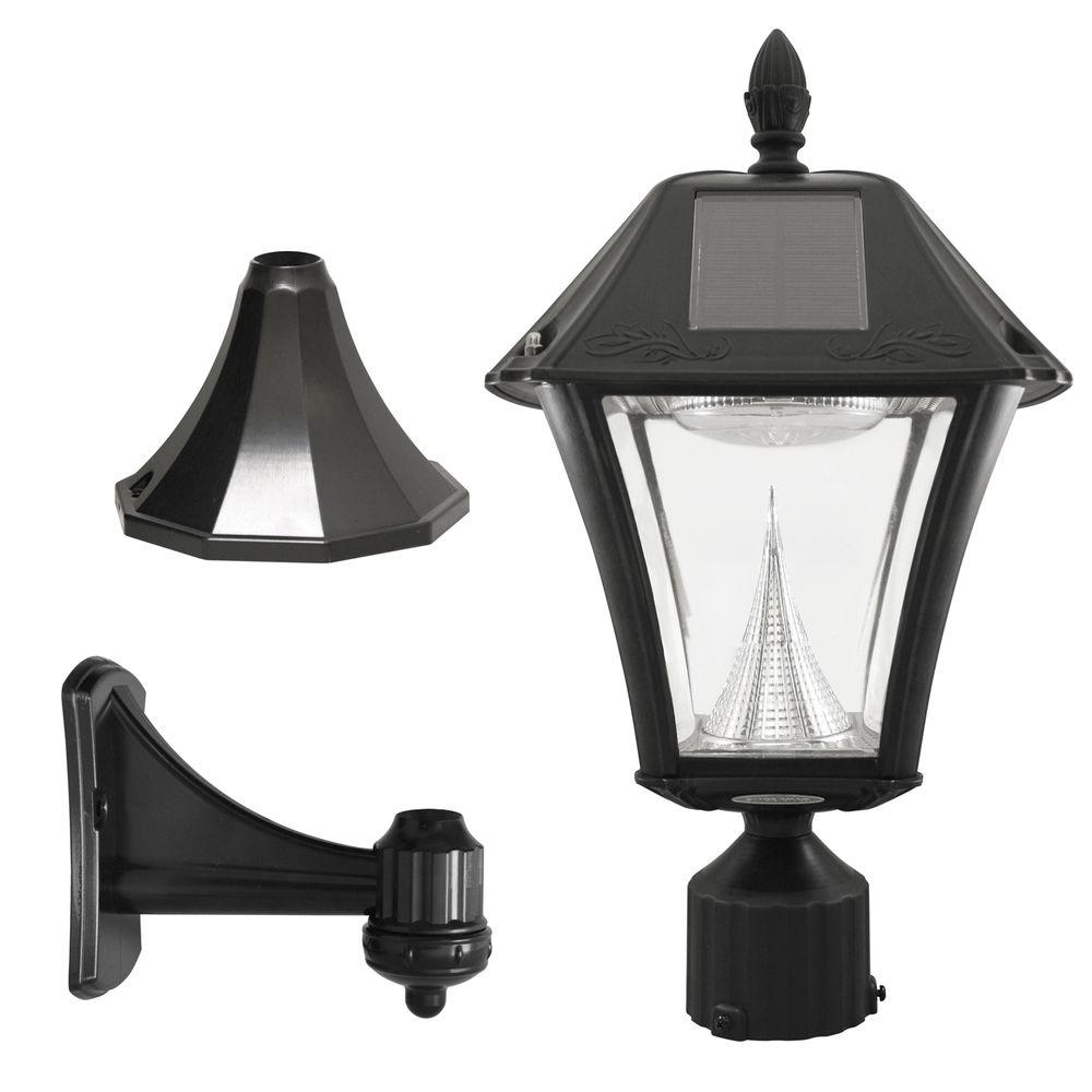 Gama Sonic Baytown Ii Outdoor Black Resin Solar Post/wall Light With Throughout Famous Modern Solar Garden Lighting At Home Depot (Gallery 2 of 20)
