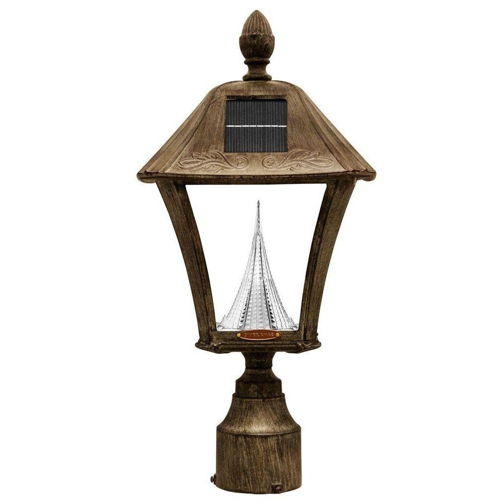 Gama Sonic Baytown Solar Weathered Bronze Outdoor Post/wall Light Pertaining To Favorite Outdoor Wall Post Lights (View 15 of 20)
