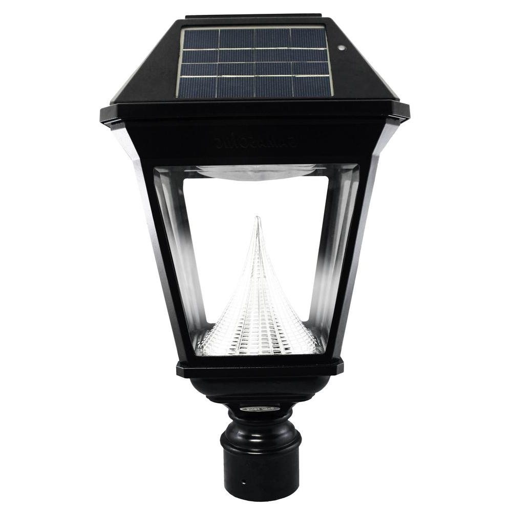 Gama Sonic Imperial Ii Solar Black Outdoor Integrated Led Post Light Regarding Well Known Modern Led Post Lights At  Home Depot (View 7 of 20)