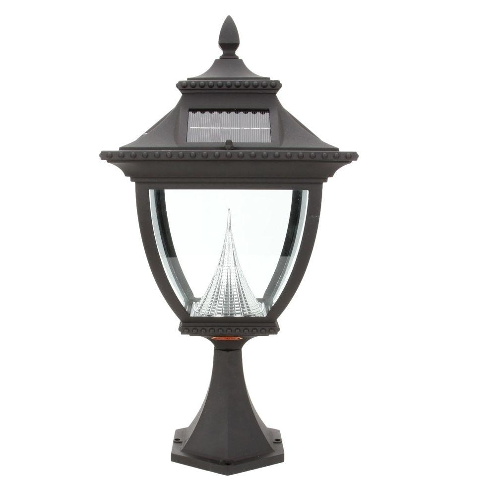 Gama Sonic Pagoda Solar Black Outdoor Led Post Light On Pier Base Gs Pertaining To Most Popular Outdoor Led Post Lights Fixtures (Gallery 5 of 20)