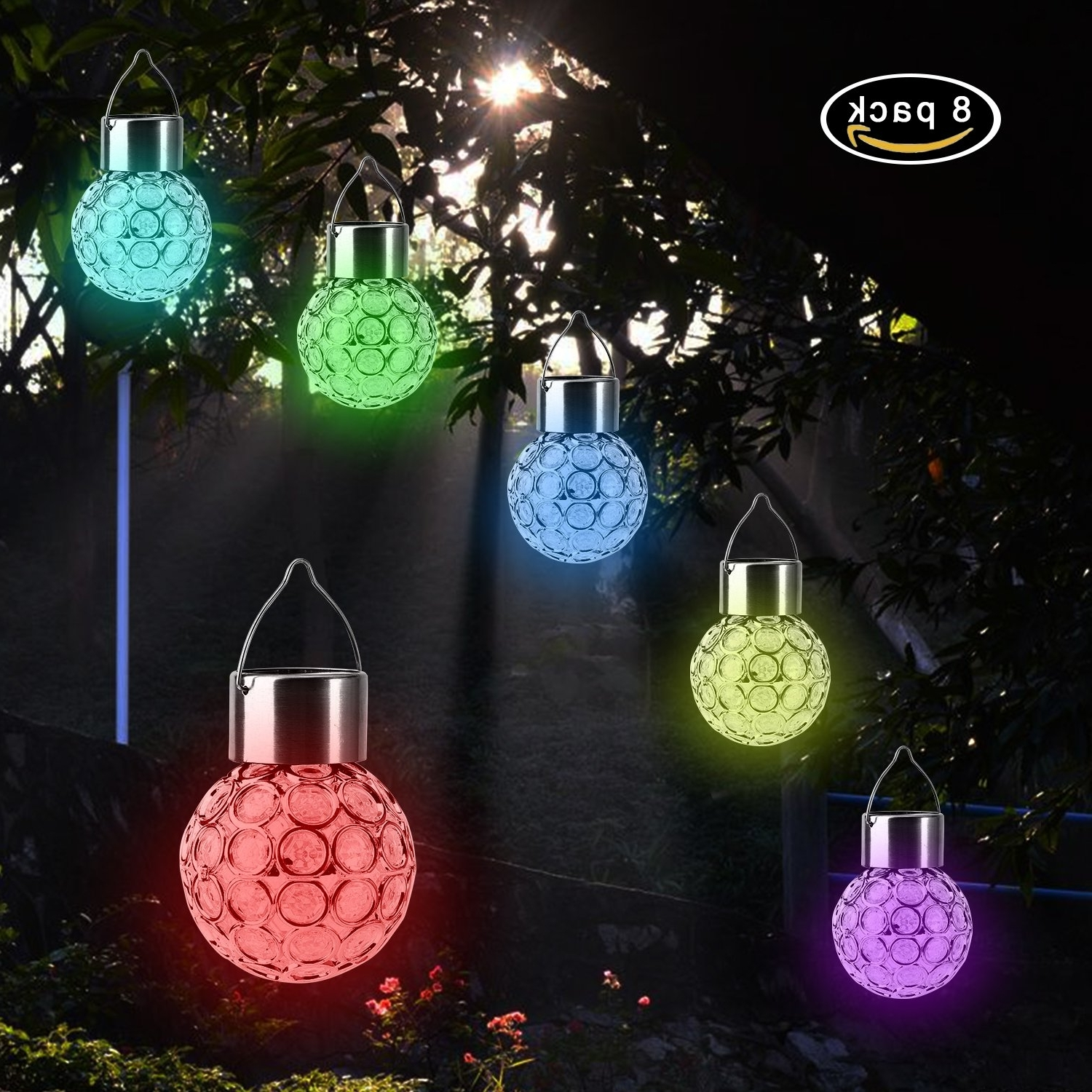 Garden Led Solar Hanging Lights Outdoor (8 Pack), Outdoor Hanging Within Most Recent Outdoor Hanging Nylon Lanterns (View 8 of 20)