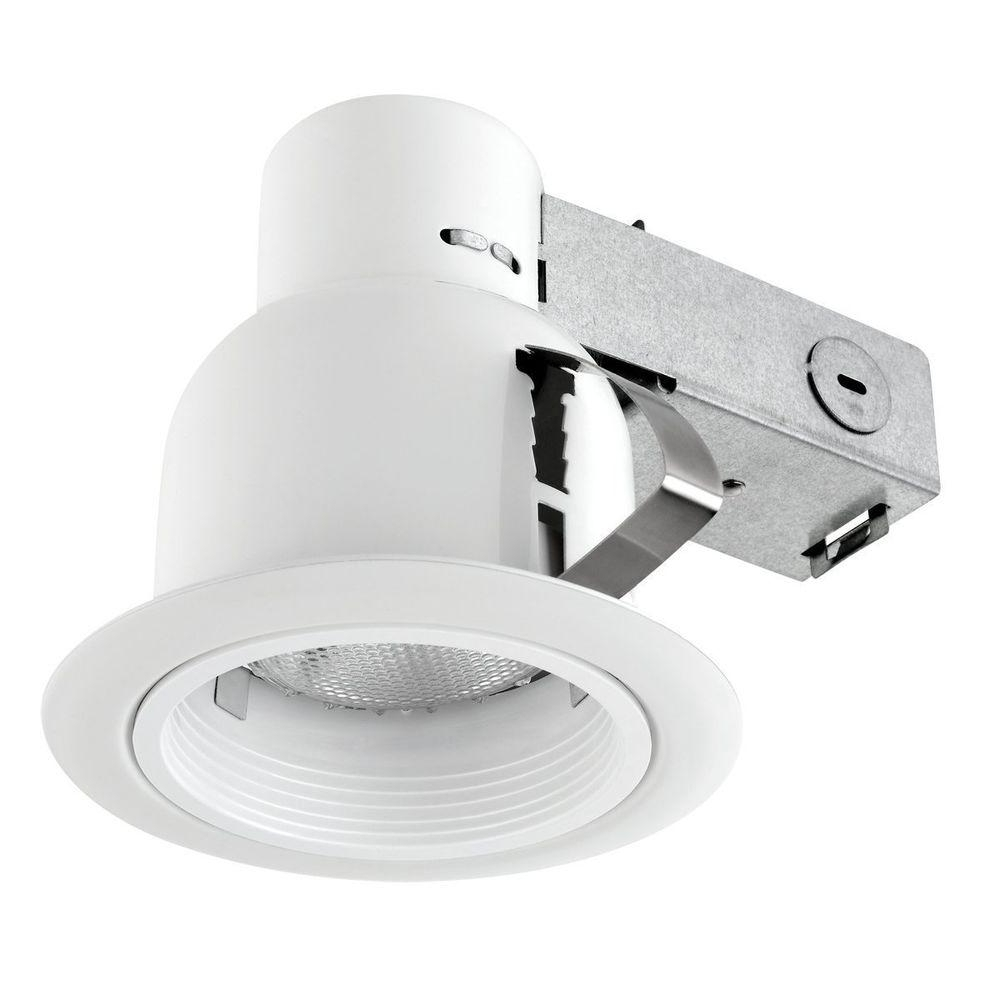 Globe Electric 4 In. Open Indoor/outdoor White Recessed Lighting Kit Intended For Preferred Outdoor Recessed Ceiling Lights (Gallery 6 of 20)