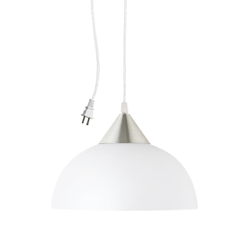 Globe Electric Amris 47 Light 4747 In. Plug In White Hanging Pendant Pertaining To Well Known Outdoor Hanging Plug In Lights (Gallery 16 of 20)
