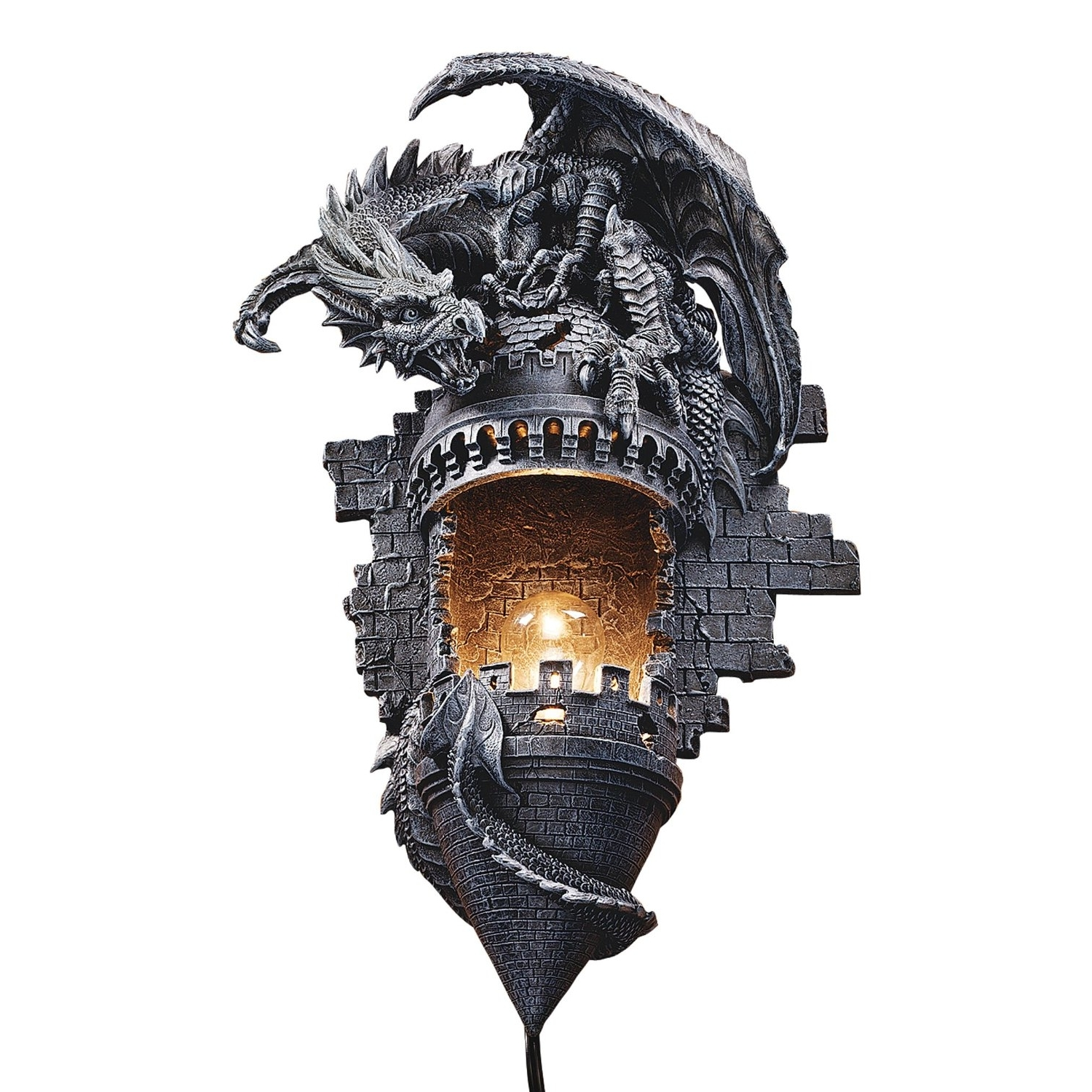 Gothic Outdoor Wall Lighting Intended For Favorite Amazon : Design Toscano Dragon's Castle Lair Sculptural Wall (View 6 of 20)