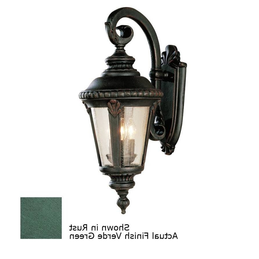 Green Outdoor Wall Lights Regarding Popular Shop Portfolio Verde Green Outdoor Wall Light At Lowes (Gallery 9 of 20)