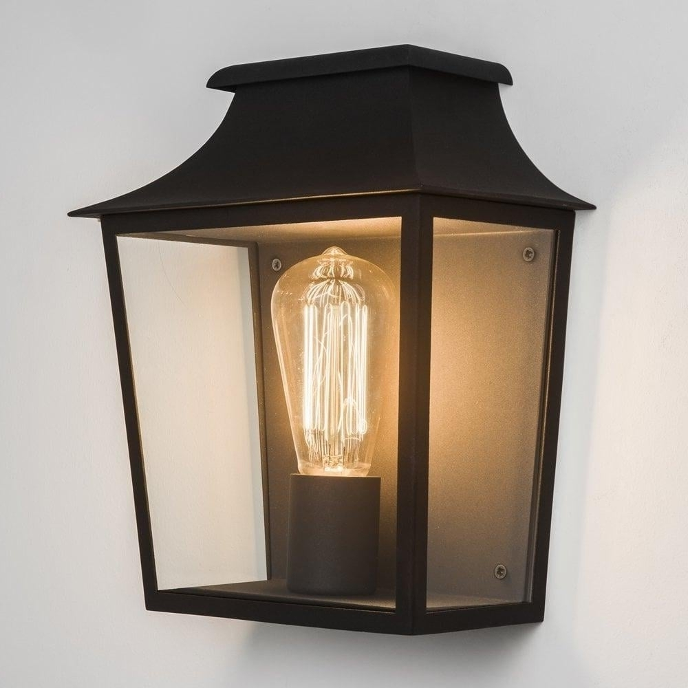 Half Lantern Outside Wall Lights Pertaining To Widely Used Astro Lighting Astro Richmond Half Wall Black Outdoor Lantern With (View 6 of 20)