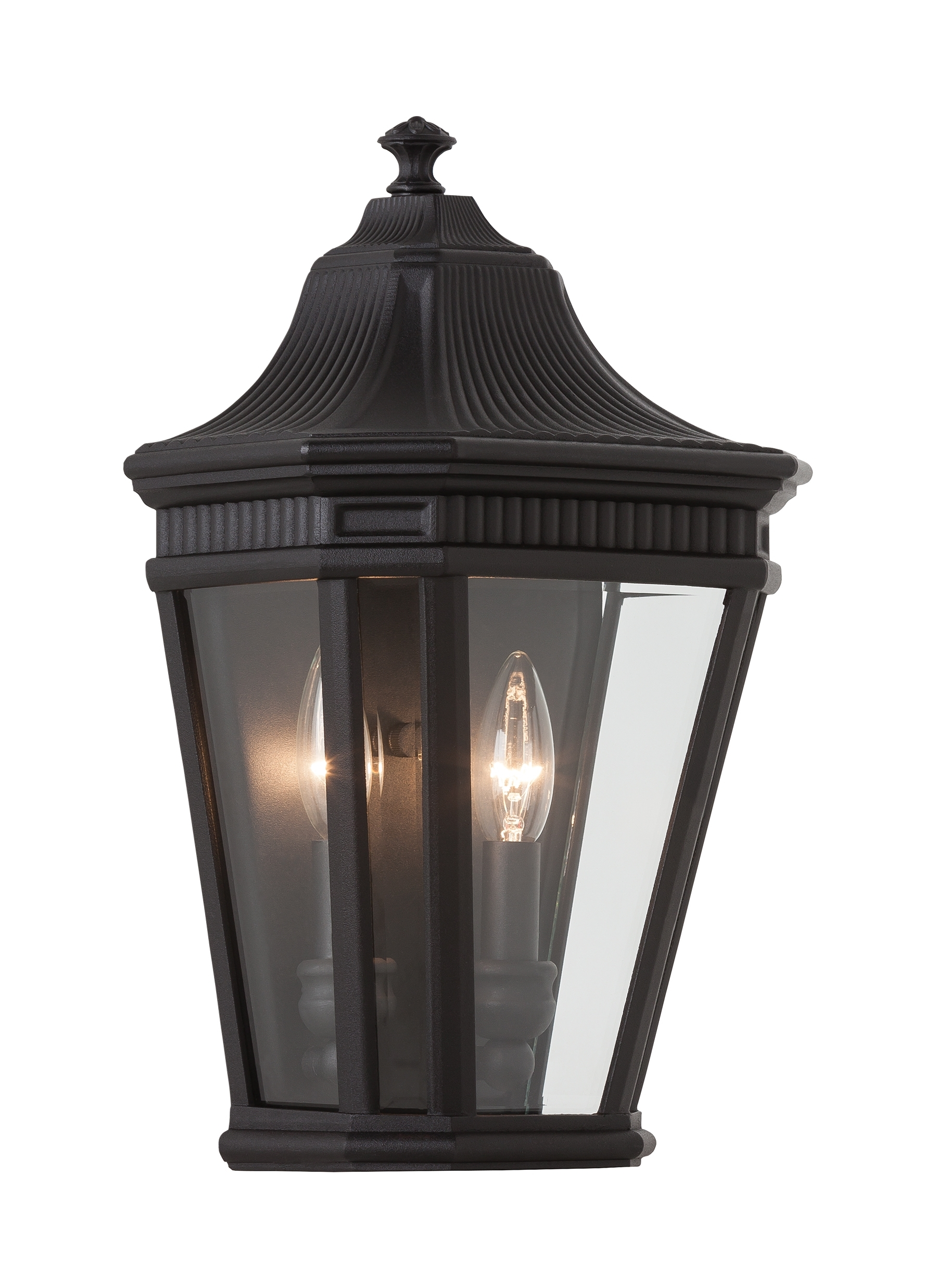 Half Lantern Outside Wall Lights Throughout Most Current Ol5403bk,2 – Light Wall Lantern,black (View 7 of 20)