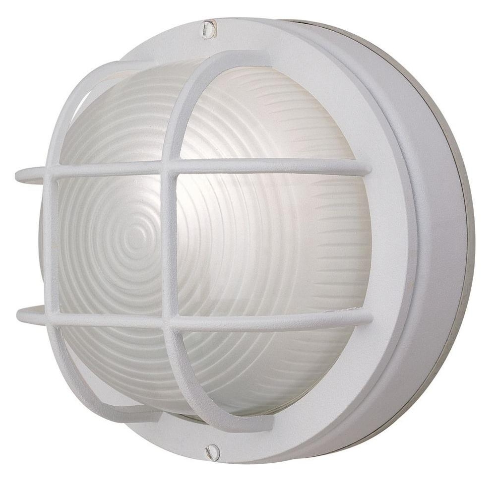 Hampton Bay 1 Light White Outdoor Round Wall Bulkhead Light Hb8824P Intended For Well Known Round Outdoor Wall Lights (View 6 of 20)