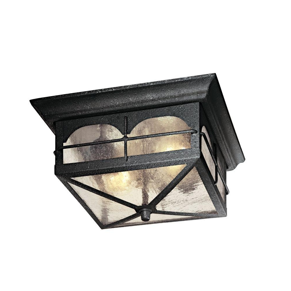 Hampton Bay 2 Light Aged Iron Outdoor Flush Mount Hb7045 292 – The Regarding Well Known Outdoor Ceiling Mounted Lights (View 6 of 20)