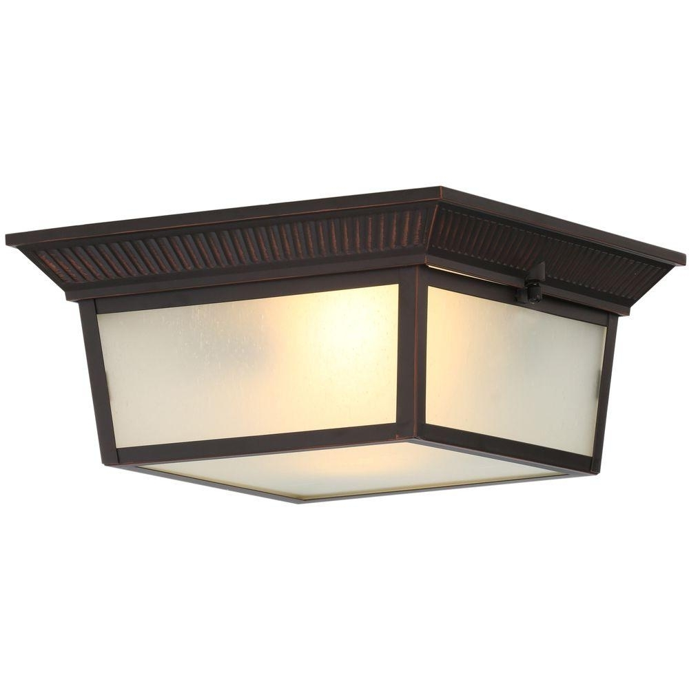 Hampton Bay 2 Light Indoor/outdoor Oil Rubbed Bronze Flushmount Inside Trendy Outdoor Ceiling Flush Mount Lights (Gallery 8 of 20)