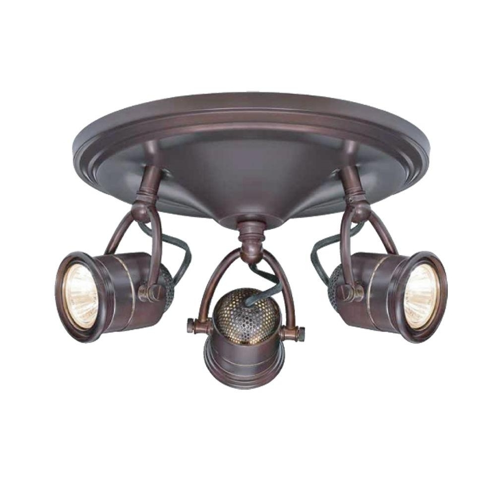 Hampton Bay 3 Light Antique Bronze Round Base Pinhole Ceiling Inside Favorite Outdoor Directional Ceiling Lights (View 8 of 20)