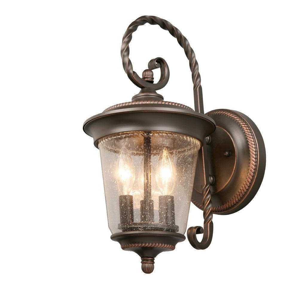 Hampton Bay 3 Light Oil Rubbed Bronze Large Outdoor Wall Lantern With Regard To Well Known Oil Rubbed Bronze Outdoor Wall Lights (View 4 of 20)
