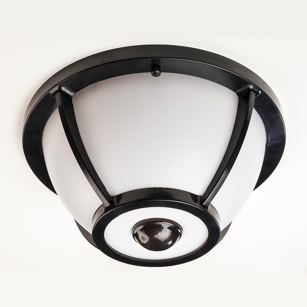 Hampton Bay 360 Degree Matte Black Round Integrated Led Motion Inside Best And Newest Outdoor Motion Sensor Ceiling Mount Lights (View 8 of 20)