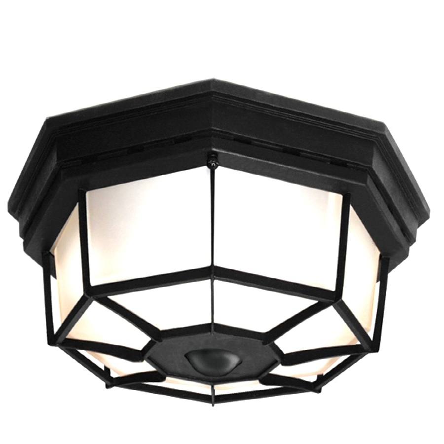 Hampton Bay 360° Square 4 Light Black Motion Sensing Outdoor Flush Within Famous Outdoor Ceiling Lights With Sensor (View 19 of 20)