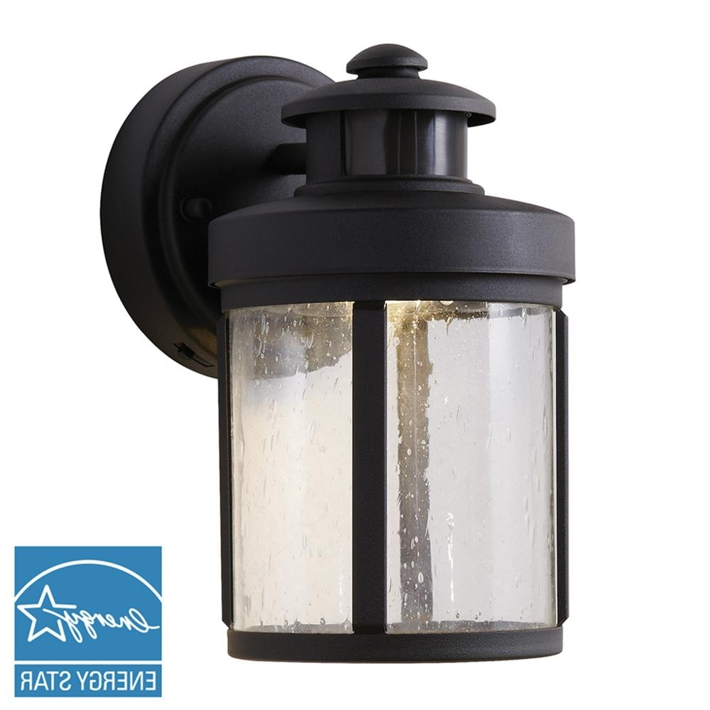 Hampton Bay Black Motion Sensor Outdoor Integrated Led Small Wall Within Most Popular Outdoor Led Wall Lights With Sensor (View 9 of 20)