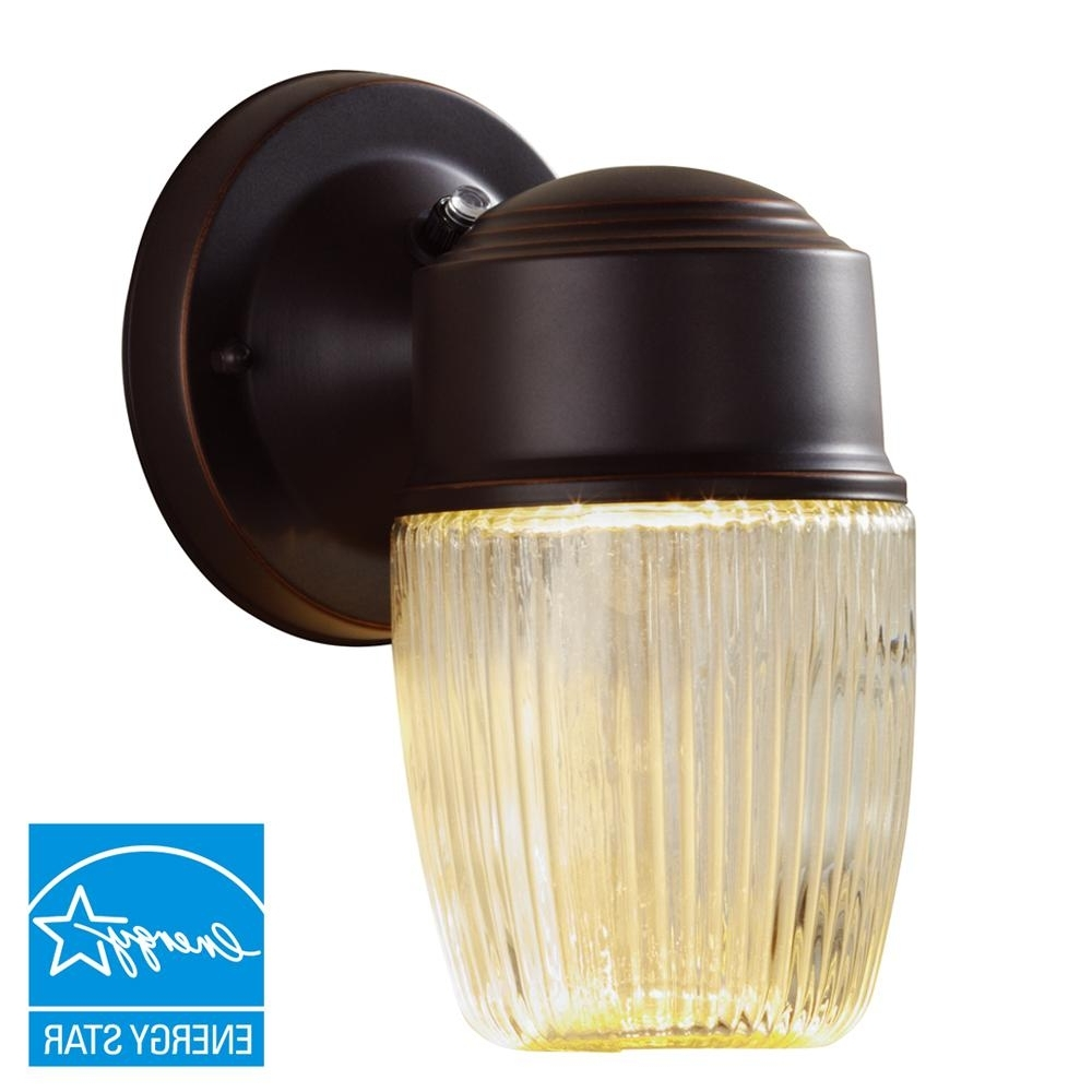 Hampton Bay Dusk To Dawn Oil Rubbed Bronze Led Outdoor Wall Lantern With Most Current Dawn Dusk Outdoor Wall Lighting (View 12 of 20)