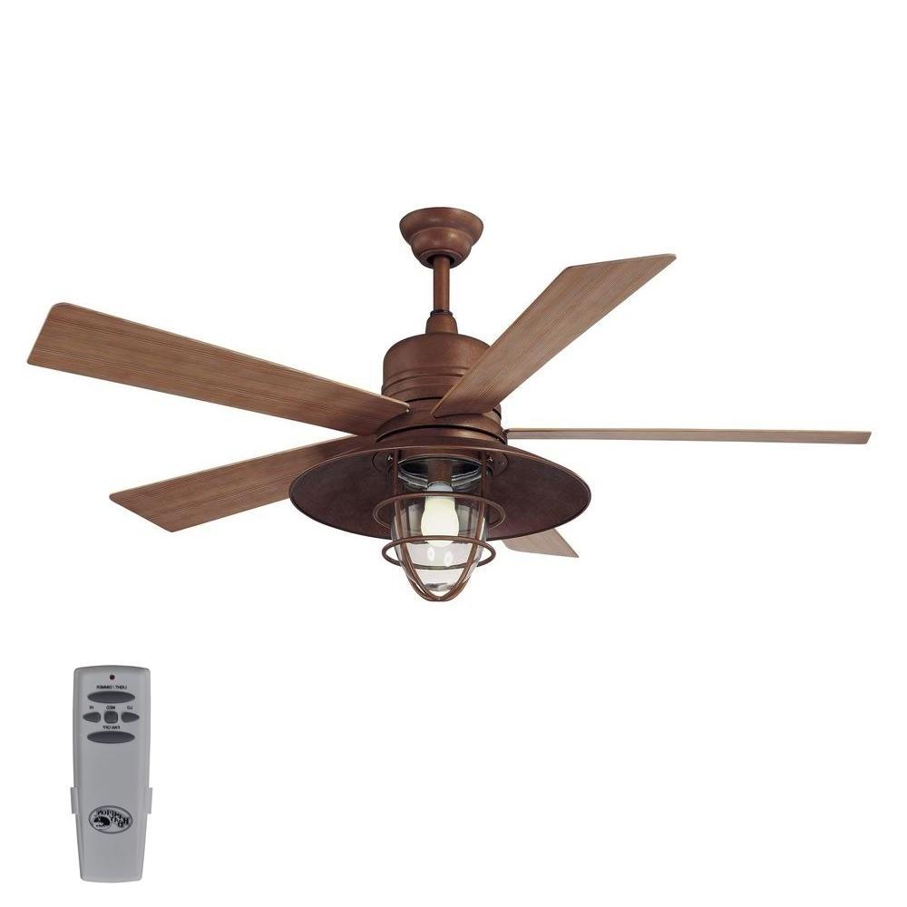 Hampton Bay Metro 54 In. Indoor/outdoor Rustic Copper Ceiling Fan Regarding 2018 Indoor Outdoor Ceiling Fans Lights (Gallery 14 of 20)